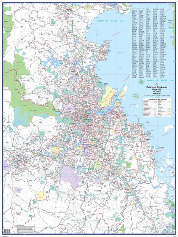 Brisbane Business Laminated Map By Ubd Wall Map Of Brisbane