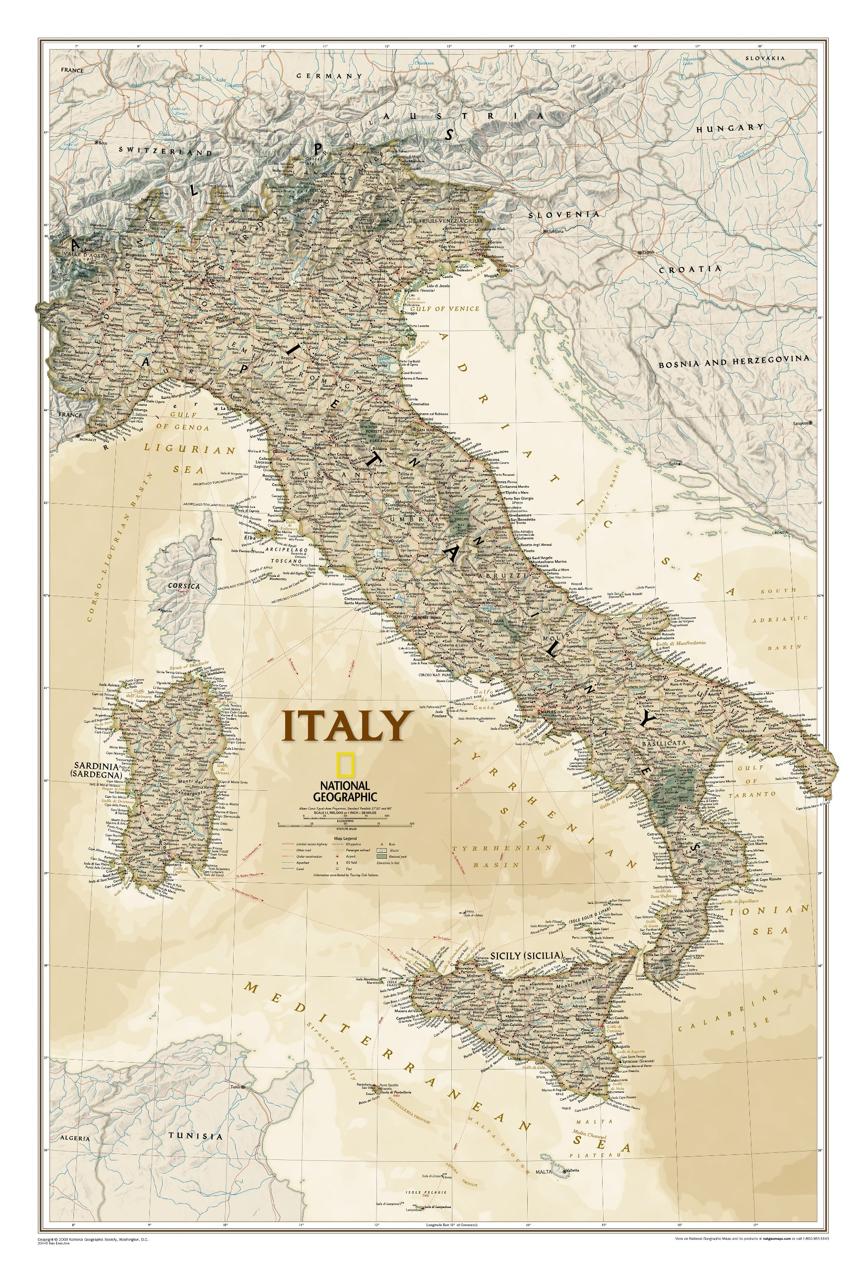 Map Of Italy For The Wall National Geographic