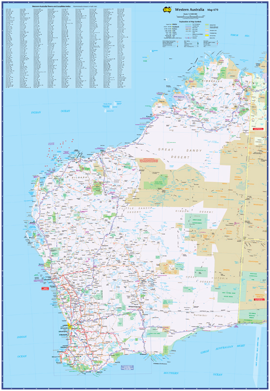 Maps Update 15002155 Map of Western Australia with Cities and – Map of Australia with Towns