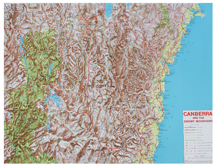 relief map canberra snowy mountains