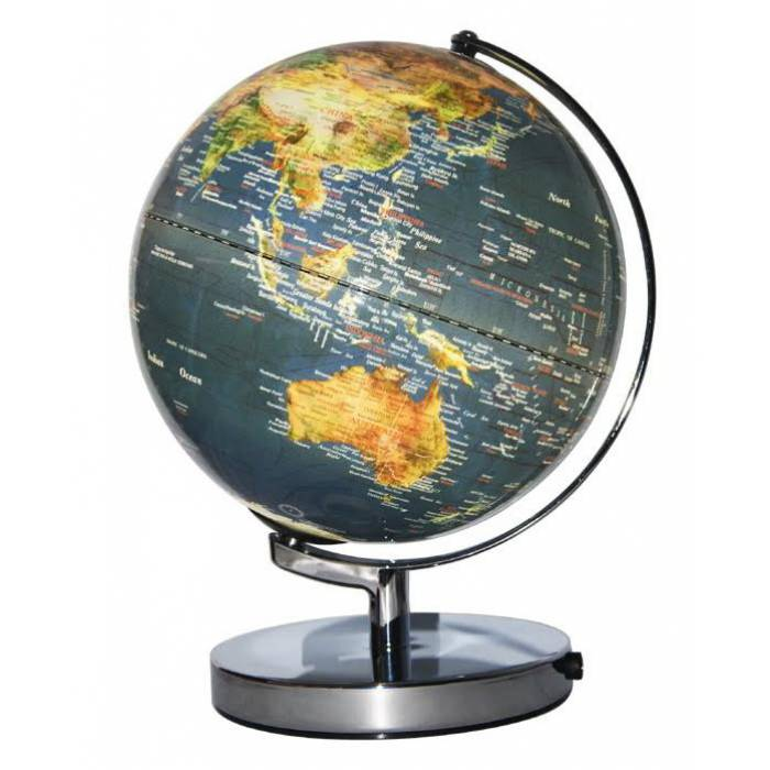 Dark Blue Ocean Illuminated World Globe 25cm