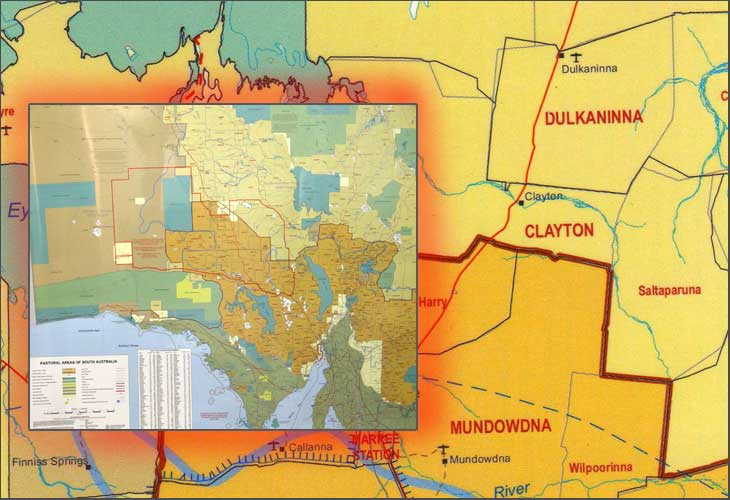 South Australia Pastoral Stations Laminated Wall Map Map