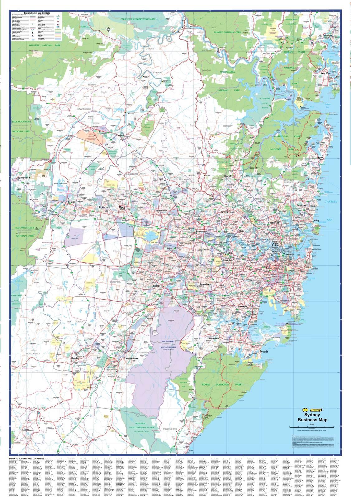 Sydney Business Ubd 265 Laminated Map Wall Map Of Sydney