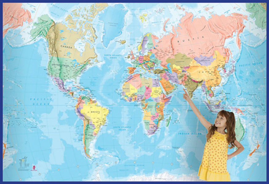 Giant world mural wallpaper wall map 9781904892625 for 8 sheet giant wall mural